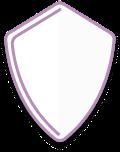 White shield with a purple border
