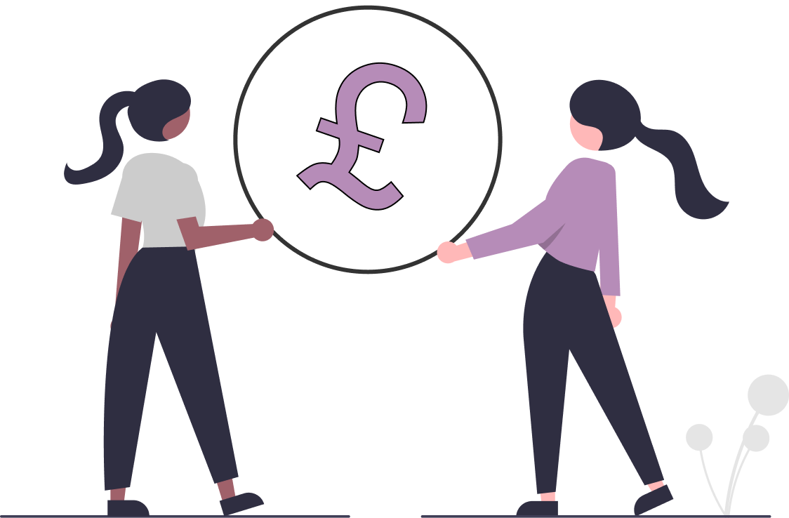 Two cartoon women holding a circle with a big purple pound sign in the middle