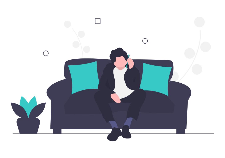 Cartoon man on a blue sofa calling someone on a smart phone